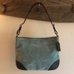 *SALE* 🇺🇸 Coach Suede Leather Light Aqua Bag